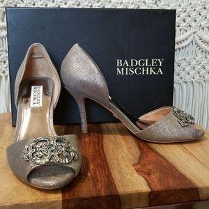 Badgley Mischka Salsa Peep Toe Heels Metallic